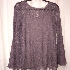 Ultra Flirt Bell Sleeve Lace Top
